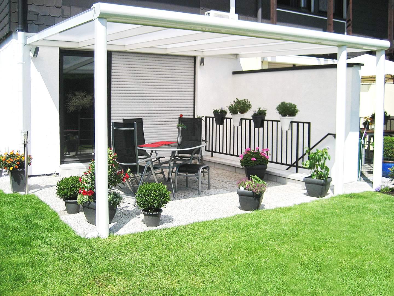 TOP ALU 4,06m x 2,5m - Terrassenüberdachung mit Aluminiumunterbau